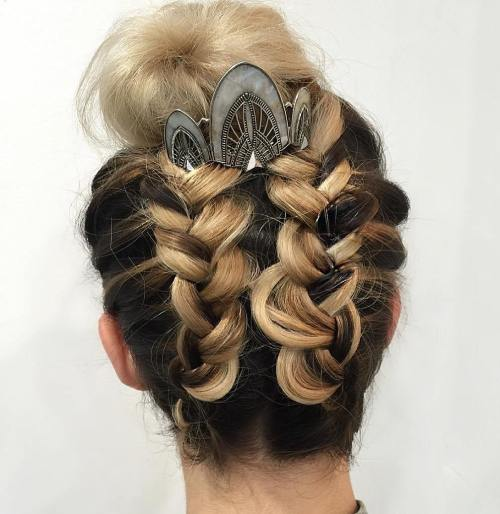 Two Braids Into High Bun Updo