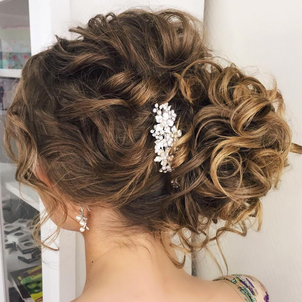 Bridal Side Curly Bun Updo