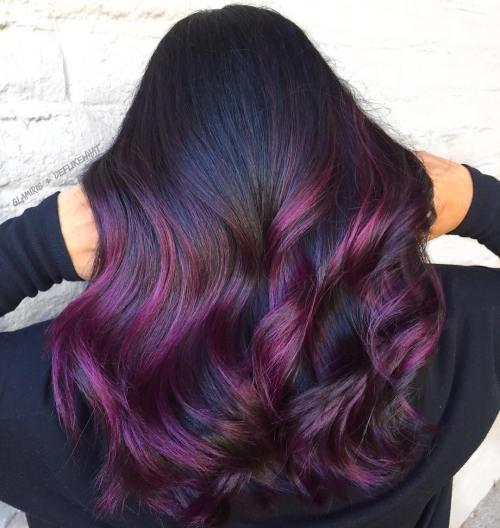 Rich Violet Balayage Hair