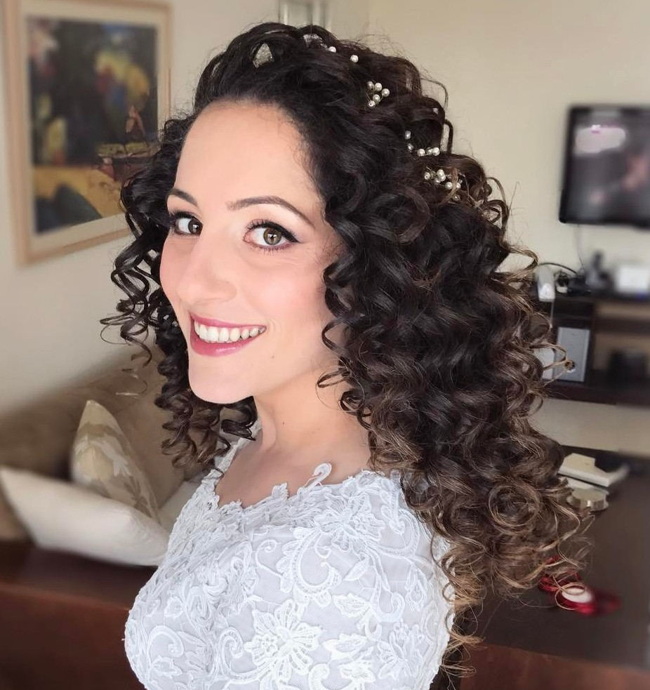 Beautiful Wedding Long Curly Hairstyle