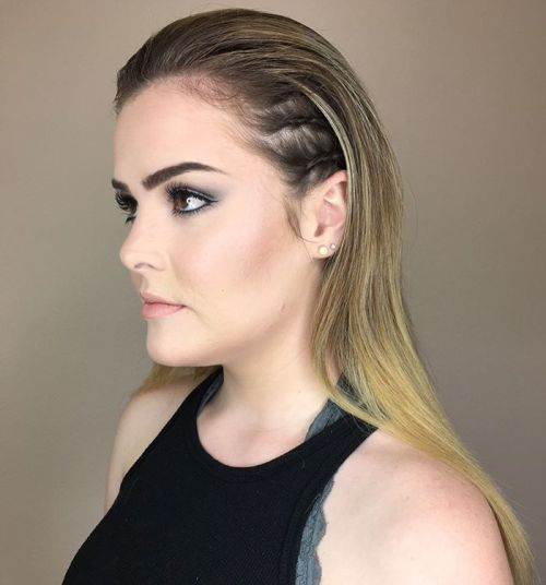 Blonde Slicked Back Hairstyle