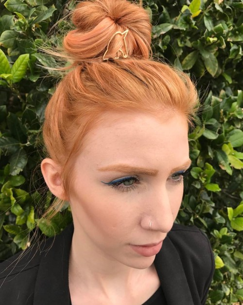 Ginger Red High Bun With Unicorn Clip