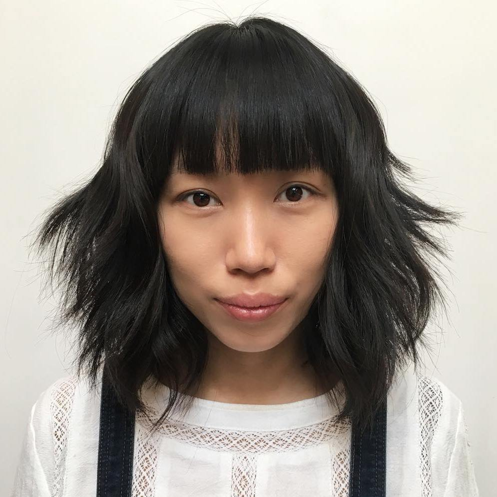 Mature asian bangs white