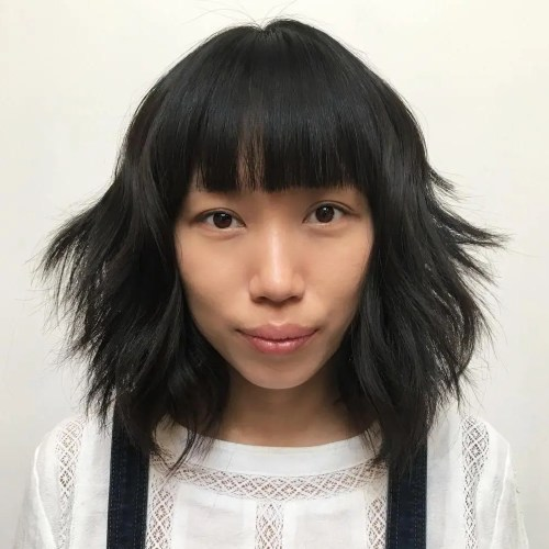 Shaggy Mid-Length Asian Haircut With Bangs