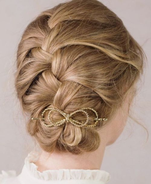 Braided Updo With Bow Hair Clip