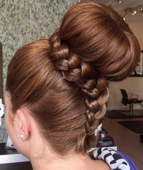 Big Sock Bun With A Braid Wrap