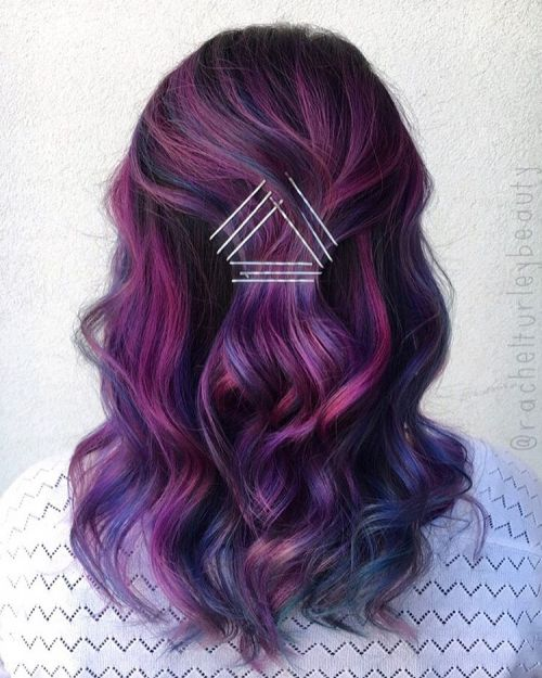 Colored Half Up Half Down Style