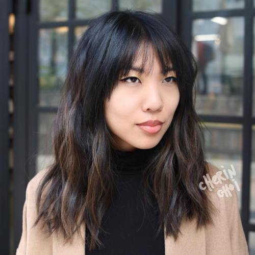 Medium Layered Asian Haircut With Bangs