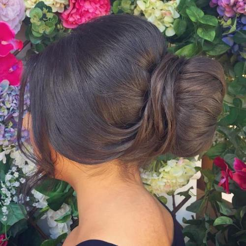 Sleek Sock Bun Updo For Prom
