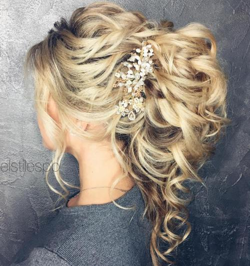 Wedding Curly Ponytail Updo 20 Soft And Sweet Hairstyles For Hair 2017