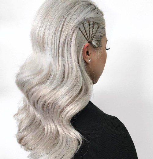 Brushed Back Silver Hair