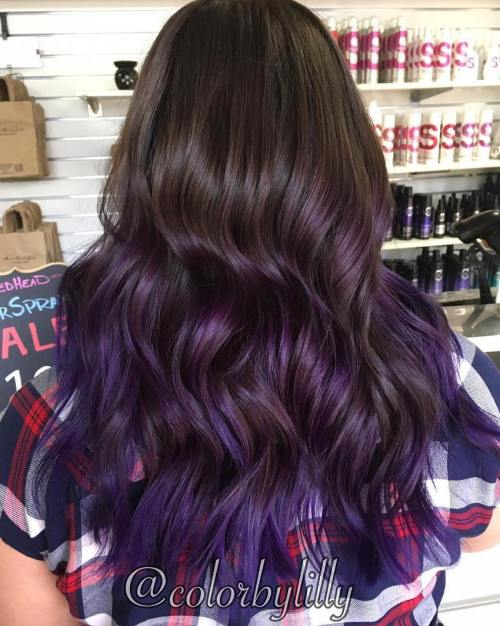 Long Brown Hair With Plum Ombre