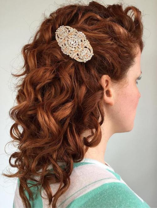 naturally curly hair wedding styles 20 soft and sweet wedding hairstyles for curly hair 2019 4359 | 6 simply curly bridal hairstyle