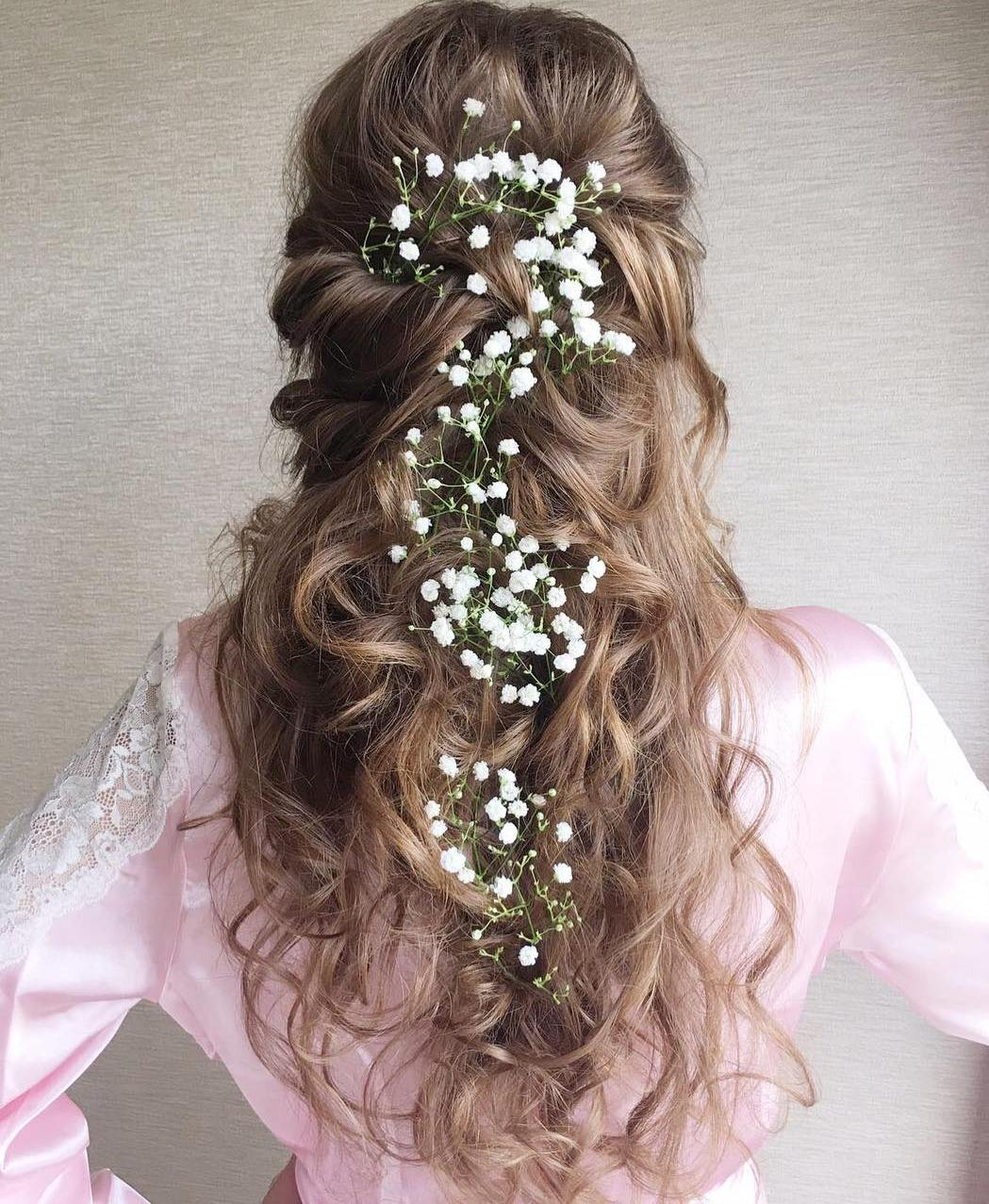 Marvelous Curly Bridal Half Updo For Long Hair