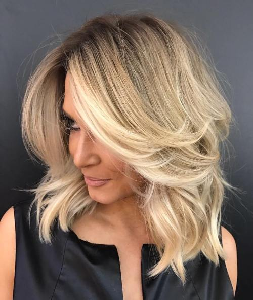 Long Layered Blonde Balayage Lob