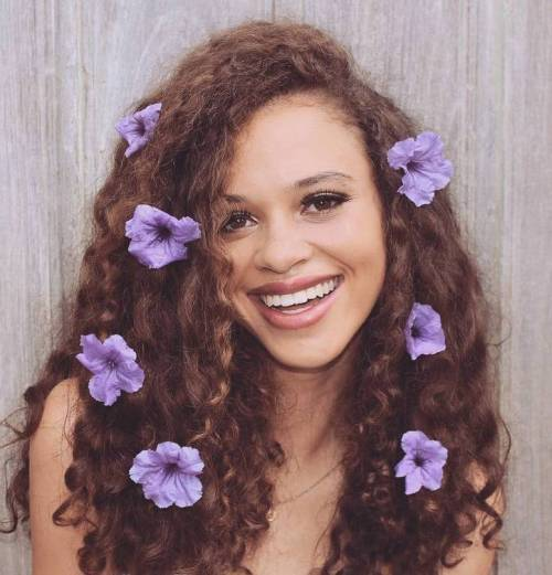 Auburn Curls With Flowers