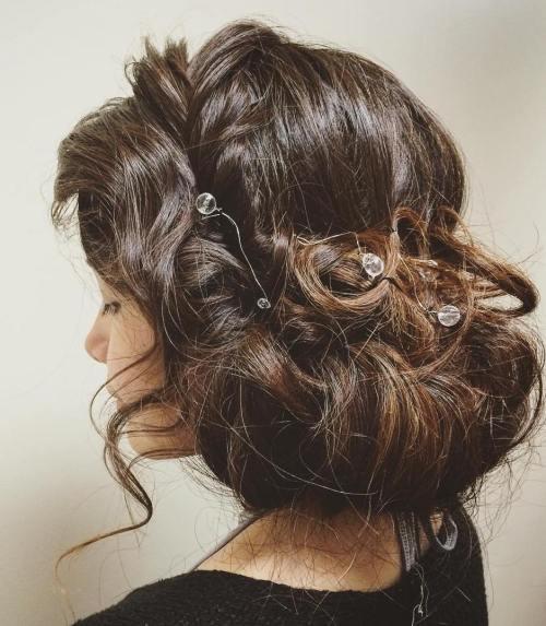 Loose Chignon Bun With Hair Jewelry