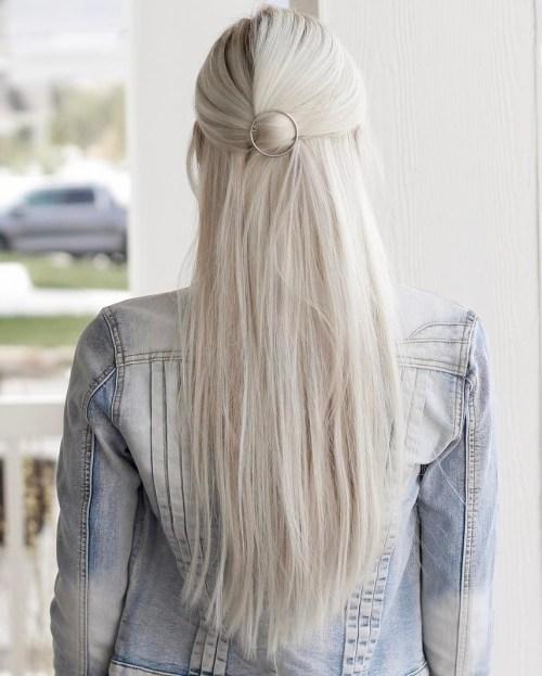 Half Updo For Long Straight Hair