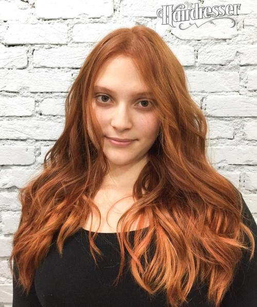 Long Red Hair With Centre Part