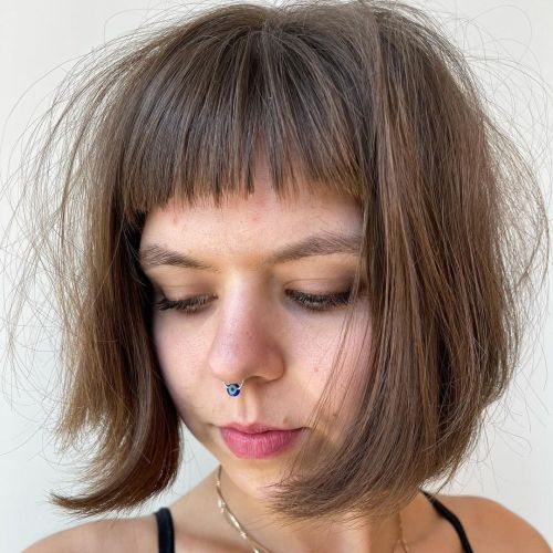 Hairstyle with Short Bangs