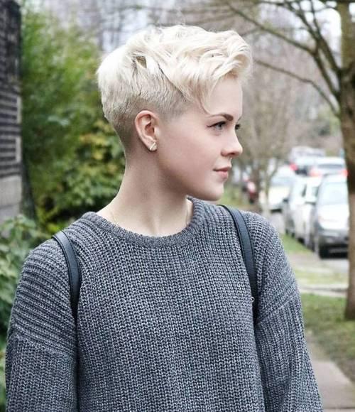 Platinum Blonde Pixie Undercut