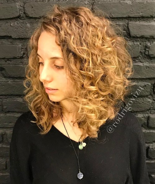 Honey Blonde Curly Layers