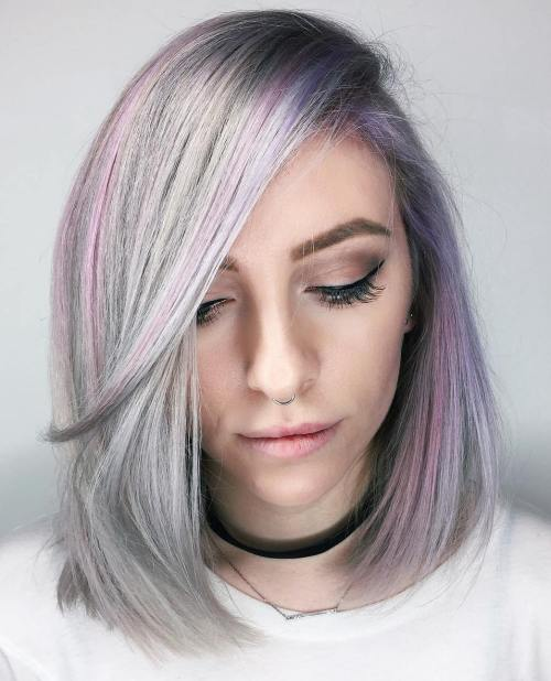 Pastel Lavender Bob With Bangs