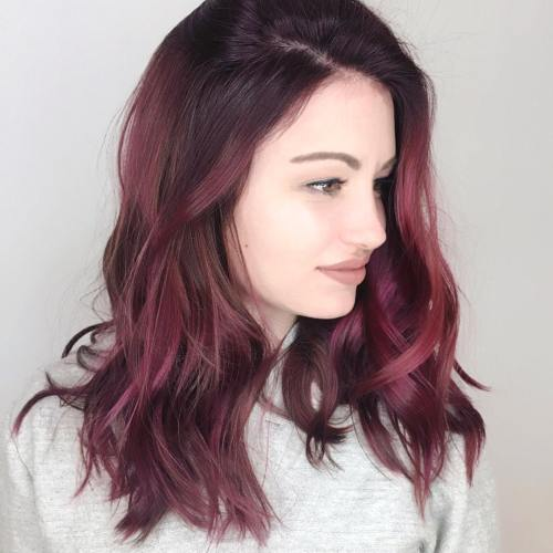 Side Swept Burgundy Hair