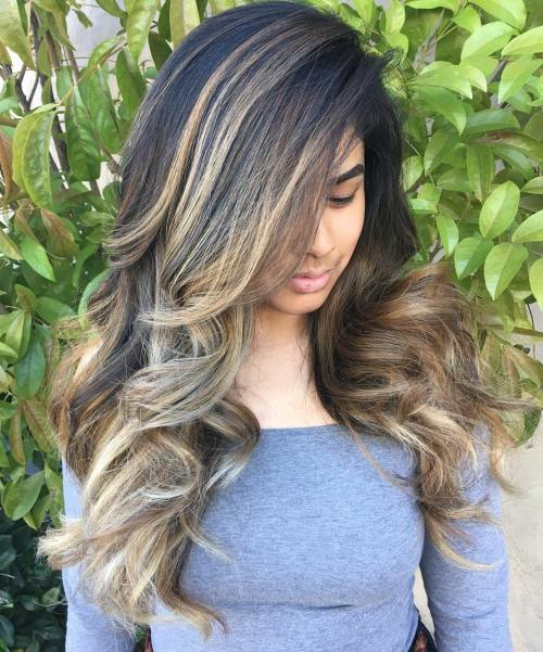 Long Black Hair With Bronde Balayage