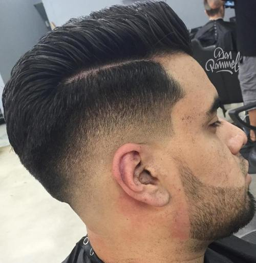 Side Part Drop Fade Haircut