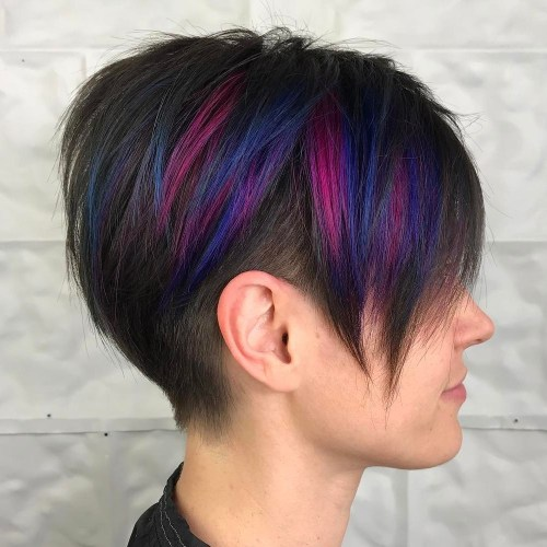 Long Pixie Undercut With Highlights