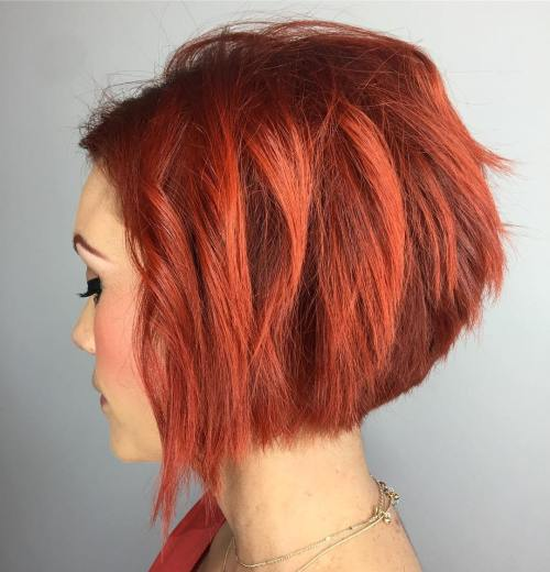 Short Choppy Red Bob
