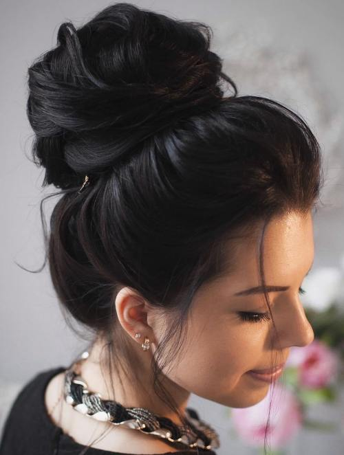 High Bun For Long Thick Hair