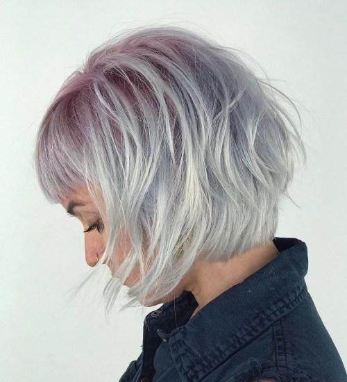 Pastel Purple And Silver Layered Bob