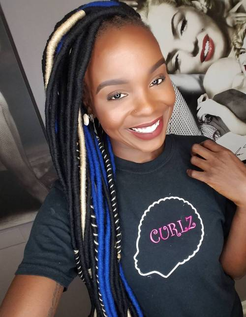 Black Faux Locs With Highlights