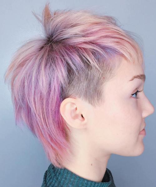 Long Pastel Pink Undercut Pixie