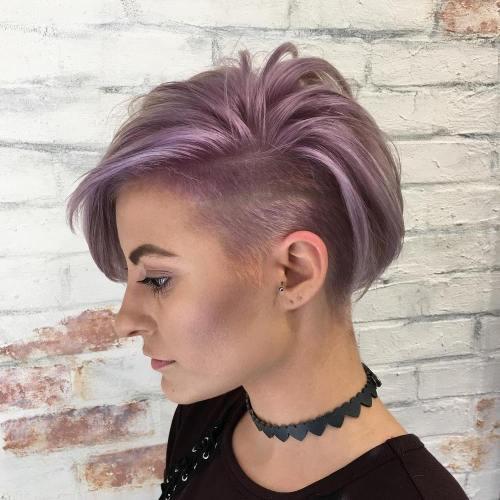 Asymmetric Lavender Undercut Pixie