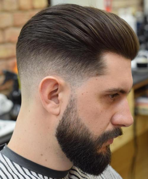 Long Top Taper Fade With Beard