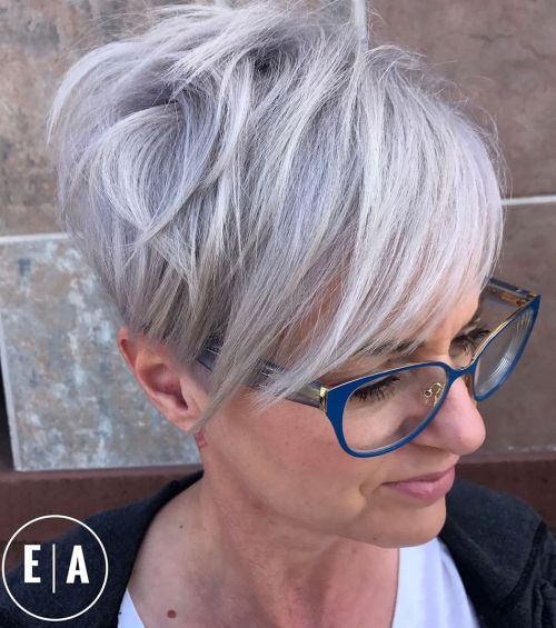 Silver Edgy Pixie Cut