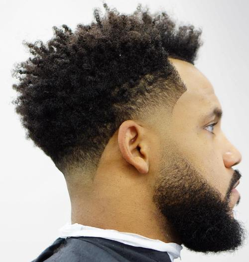 Afro With Line Up And Low Fade