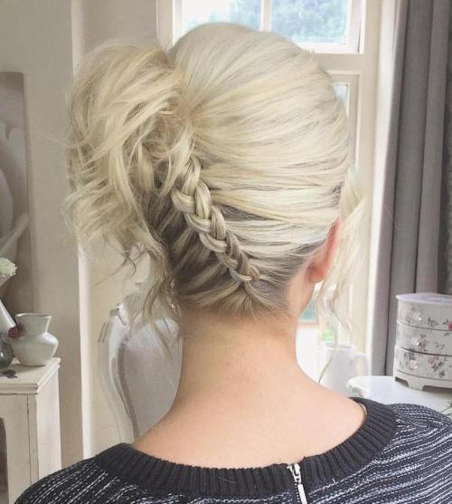 Diagonal Upside Down Braid Updo