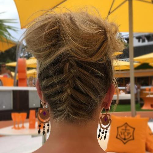 Messy Updo With Upside Down Braid