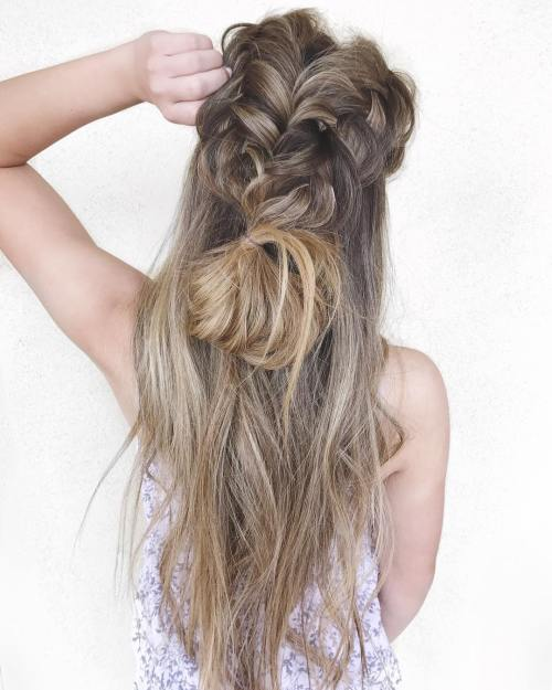 Voluminous Messy Braided Half Updo