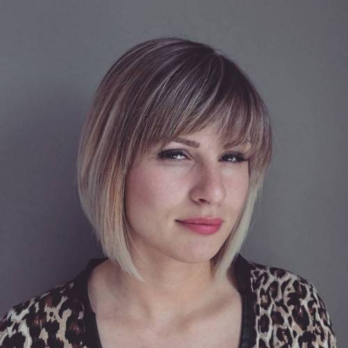 Bronde Balayage Bob With Bangs