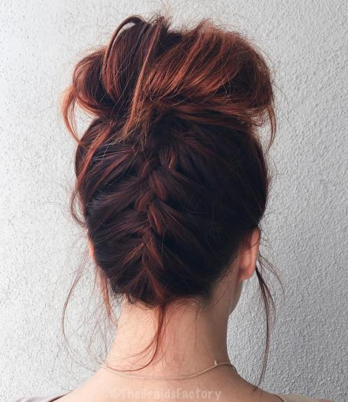 Messy High Bun With A Braid