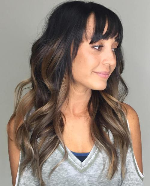 Long Brown Balayage Hair With Bangs