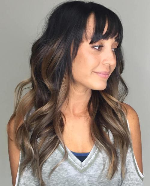 Long Brown Balayage Hair With Bangs