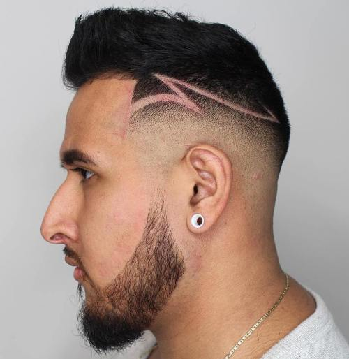 Skin Fade With Shaved Designs
