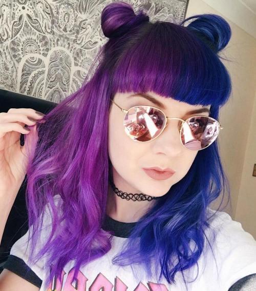 Blue And Purple Half Buns