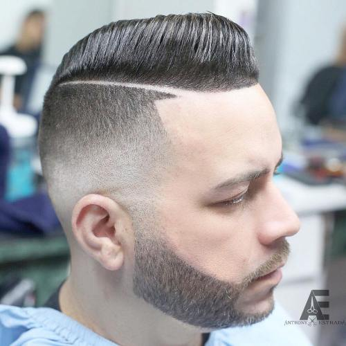 Side Parted Hairstyle With Fade